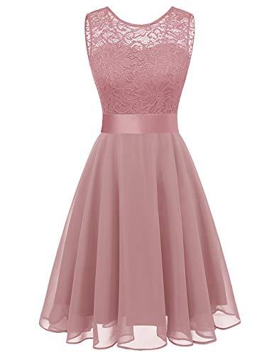 (BeryLove Women's Short Floral Lace Bridesmaid Dress A-line Swing Party DressBLP7005BlushL)