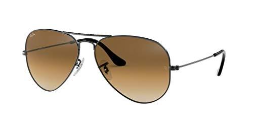 (Ray-Ban RB3025 Aviator Gradient Unisex Sunglasses (Gunmetal Frame/Brown Gradient Lens 004/51, 62))