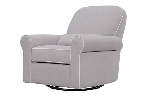 DaVinci Ruby Recliner and Glider, Grey with Cream Piping