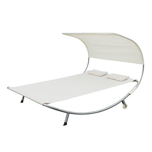 Bain de soleil lit transat chaise longue de jardin deux places tube en acier oxford polyester anti-UV 200L x 173l x 135Hcm creme neuf 06 CW