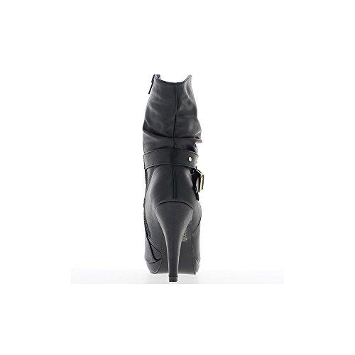 Bottines femme noires à fermeture éclair et talon de 10cm