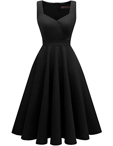 DRESSTELLS Women's Bridesmaid Sleeveless Ruched Tea Dress Cocktail Swing Party Dress Black M