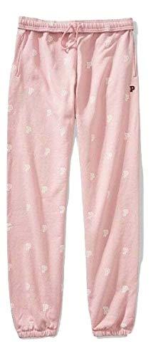 Victoria's Secret Pink Campus Pant Color Rose Chalk Logo Print Large NWT ()