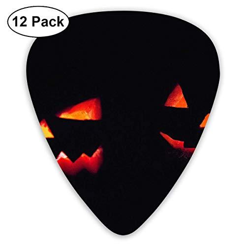 Anticso Custom Guitar Picks, Black Candlelight Creepy Dark r Halloween Horror Lantern Pumpkin Scary Guitar Pick,Jewelry Gift For Guitar Lover,12 -