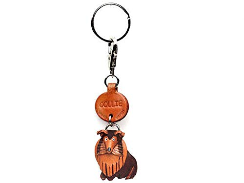 Collie Leather Dog Small Keychain VANCA Craft-Collectible Keyring Charm Pendant Made in -