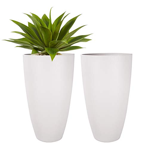 LA JOLIE MUSE Tall Planters Outdoor Indoor - Tree Planter 19.7 inches Modern White Flower Pots with Drainage Holes for Balcony Garden Patio Deck Resin Planters Pack 2 (Deck Garden)