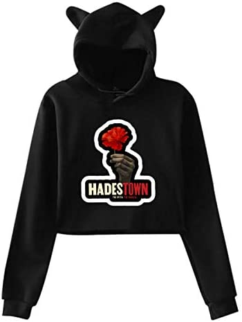 TPPT Hadestown Women`s Long Sleeve Sweater Black Cat Ear Hoodie Sweater