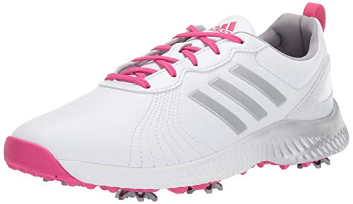 adidas Women's W Response Bounce Golf Shoe, White/Magenta/Silvermet, 8 M US