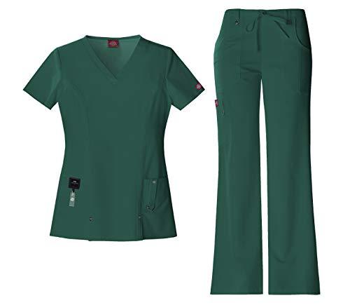 Dickies Xtreme Stretch Women's Medical Uniform Scrub Set Bundle - 82851 V-Neck Top & 82011 Drawstring Pants & MS Badge Reel (Hunter - Medium/Small Petite)