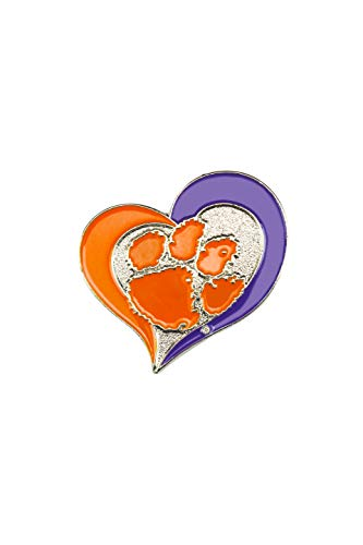 aminco NCAA Clemson Tigers Swirl Heart PinSwirl Heart Pin, Team Color, 4