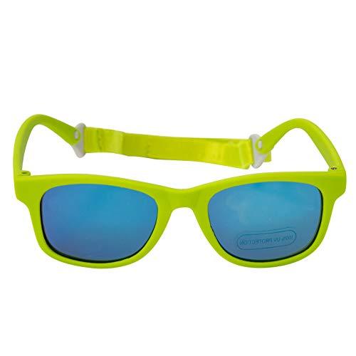 Baby Solo Babyfarer Baby Toddler Sunglasses/Infant Newborn Sunglasses (0-24 months, Matte Lime Green w/Bright Blue Mirror Lens)