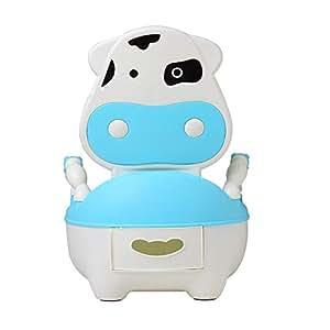 Glenmore Orinal Bebe Niño WC para Infantil con Tapa y Asiento Acolchado Suave Niña Vaca Azul