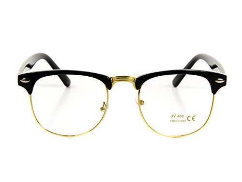 Goson Classic Black Gold Frame/Clear Lens Horned Rim Clubmaster Glasses - Gold Wayfarer Ray Bans