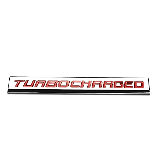 UrMarketOutlet TURBOCHARGED Red/Chrome Aluminum Alloy Auto Trunk Door Fender Bumper Badge Decal Emblem Adhesive Tape Sticker (Vintage 1974 Fender)