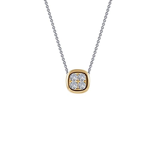 Lafonn Classic Sterling Silver 2-Tone Plated Simulated Diamond Necklace (0.06 CTTW)