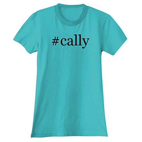 The Town Butler #Cally - A Soft & Comfortable Hashtag Women's Junior Cut T-Shirt, Aqua, Large