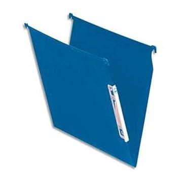 Caja de 25 archivadores colgantes para cajón, fondo V, color azul opaco: Amazon.es: Oficina y papelería