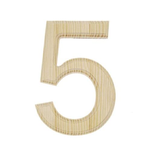 Darice 0992-5 Decorative Wood, Number 5, 6-Inch