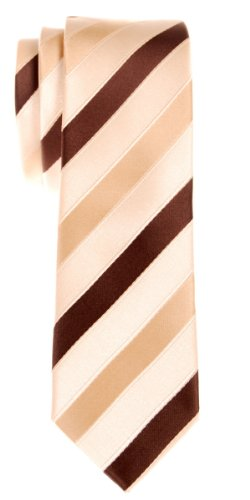 (Retreez Three-Colour Stripe Woven Microfiber Skinny Tie - Yellow and Brown)