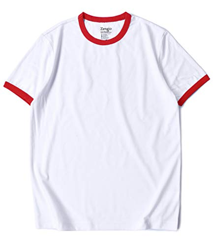 Men's Ringer Tee Crew Neck Athletic T Shirts Short Sleeve Sport Shirt for Men (XXL, White/Red)