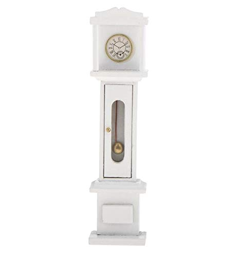 Agordo 1:12 Dollhouse Miniature Living Room Vintage Wooden Grandfather Clock White - Windsor Plum