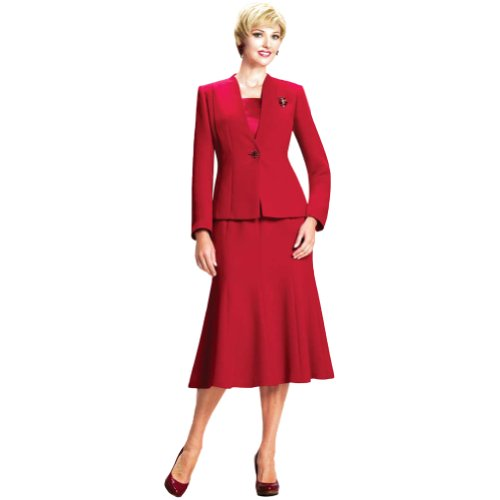 Moshita Couture Women's Business Skirt Suit 6500 6 Red