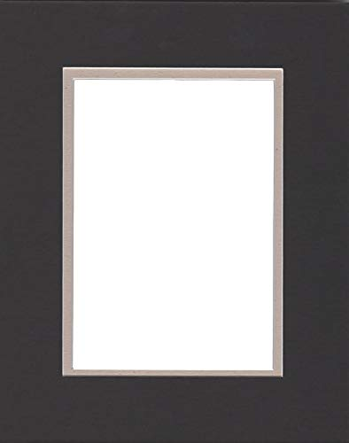 22x28 Double Acid Free White Core Picture Mats Cut for 18x24 Pictures in Black and Light Tan by Woodburns Stencil Shop