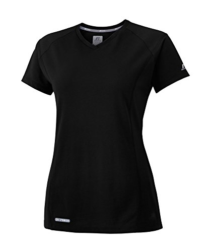 Russell Athletic Athletic Tank Top - Russell Athletic Women's Dri-Power 80/20 Performance V-Neck Tee, Black, XXL