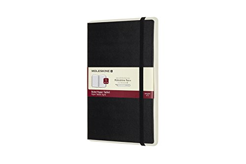 "Moleskine Paper Tablet Hard Cover Smart Notebook, Ruled, Large (5"" x 8.25"") Black - Compatible with Moleskine Pen+ Ellipse (Sold Separately) & App, Digitize & Organize Notes, Ideas, Bullet Journal"