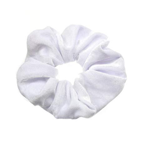 (Lookatool LLC 10PC Velvet Ponytail Holder Hair Scrunchies Hair Ties Donut Maker Hairbands WH White)