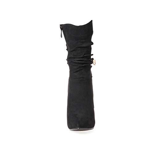Haut Ye Boots Winter Cuir Ankle Noir Hiver Aiguille Shoes Chaussure mollet A Botte Mi Bottine Femme Talon CUCxqgzTw