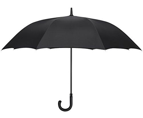 Plemo Oversize Rain Umbrella Windproof Long Big Umbrella Auto Open Long-handle With Durable Polyester Rib (Black 8 Ribs)