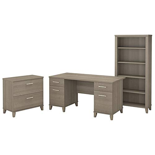 Bush Furniture Somerset 60W Office Desk with Lateral File Cabinet and 5 Shelf Bookcase in Ash Gray