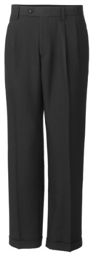 Twill Microfiber Pleated Pant, Charcoal, 34X30 (Twill Double Pleat Pants)