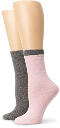 Anne Klein Women's 2-Pack Tipped Cashmere Crew Socks, 1 Pair Pink/1 Pair Charcoal, One Size