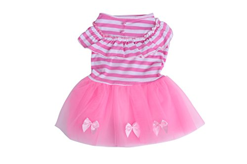 Lace Skirt Princess Dress Bow Tutu Dress for Small Dogs and Cats (XS, Pink)