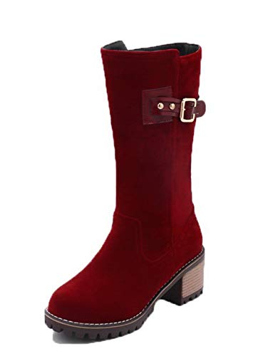 On Pull TSDXH112682 Boots Women's Solid Frosted Kitten Round Red Toe AalarDom Heels xwA680Fxq