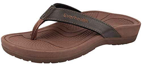 Everhealth Orthotic Sandals Stylish Thong Flip Flops Women Ultra Comfort Slippers with Arch Support for Plantar Fasciitis, Flat Feet & Heel Spur - 37 EU/ 6 US Brown