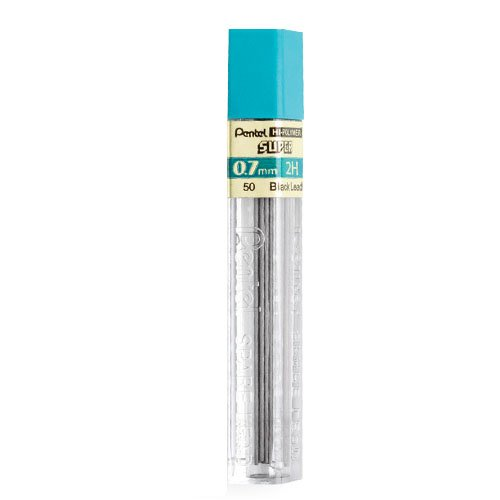 Pentel Super Hi-Polymer Lead Refill, 0.7mm Medium, 2H, 144 Pieces of Lead (50-2H)