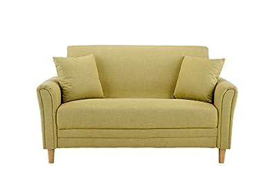 Divano Roma Modern 2 Tone Small Space Linen Fabric Loveseat (Yellow)