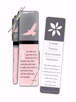 Christian Tools Affirmation Pen & Bookmark Set-Courage Purpose Determination Endurance (Isaiah 40:31 KJV) (They That Wait Upon The Lord Kjv)