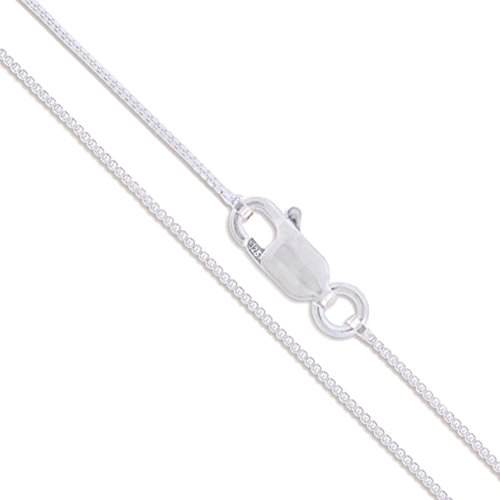 (Sterling Silver Box Chain 1mm Solid 925 Italy Lightweight Lobster Claw Clasp Necklace 30