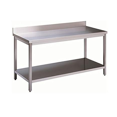 Mesa de acero inoxidable con estante de fondo y con alzatina ...