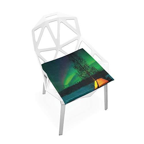 DoubleCW Aurora Borealis Dining Room Chair Seat Covers, Washable Spandex Stretch Dinning Chair Upholstered Cushion Cover