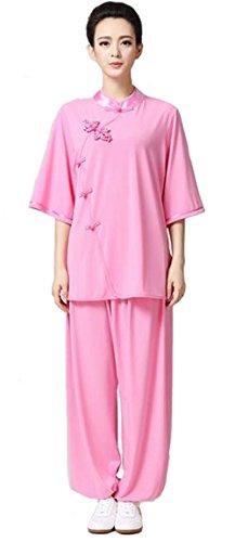 ZooBoo Women's Chinese Traditional Tai Chi Uniform Kung Fu Clothing (XXL, Pink)