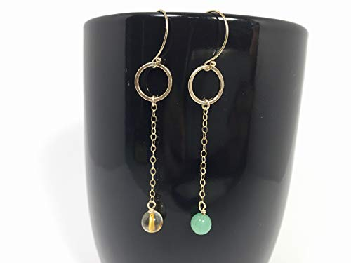 Mismatch crystal earrings, Citrine and Green Aventurine 14k gold filled ()