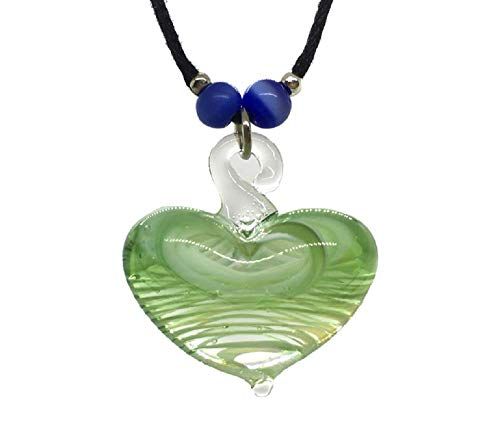 RATEWA Art Glass Blown Handmade Green Heart Glass Pendant Glass Blown Necklace Jewelry, Art Glass Blown Necklace (Glass 3 Hearts Necklace)