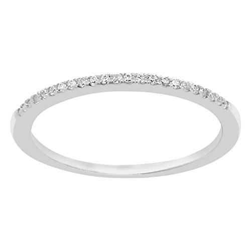 0.08 cttw 14k White Gold Round Diamond Ladies Dainty Anniversary Wedding Band Stackable Ring by eSparkle