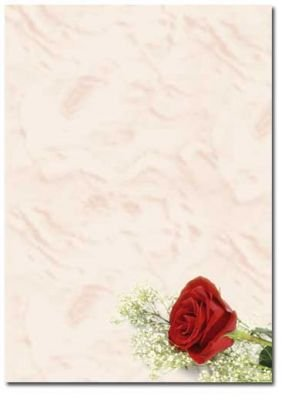 Motif Paper Stationary Paper Red Rose 20 Sheets Din A4 90gm²