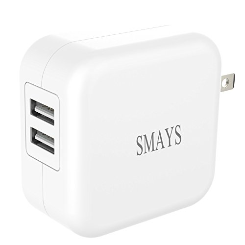 Smays Mini Dual USB Wall Charger and Power Adapter 10.5W and 5W for Fire Tablets and Kindle eReaders, White